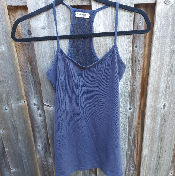 Garage Navy Tank Top Lace Back Size S